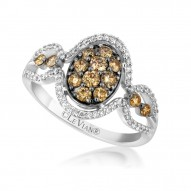 YPPN 149 14k Vanilla GoldFramed Clusters™ Ring with Chocolate Diamondsand Vanilla Diamonds
