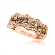 YPVR 187 14k Strawberry GoldChevron™ Ring with Chocolate Diamondsand Vanilla Diamonds