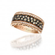 YPVR 192 14k Strawberry GoldRing with Chocolate Diamondsand Vanilla Diamonds