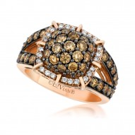 YPVR 201 14k Strawberry GoldFramed Clusters™ Ring with Chocolate Diamondsand Vanilla Diamonds