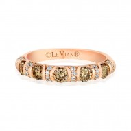 YPVR 243 14k Strawberry GoldRing with Chocolate Diamondsand Vanilla Diamonds