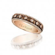 YPVR 249 14k Strawberry GoldRing with Chocolate Diamondsand Vanilla Diamonds