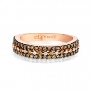 YPVR 253 14k Strawberry GoldRing with Chocolate Diamondsand Vanilla Diamonds