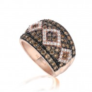 YPVR 265 14k Strawberry GoldChevron™ Ring with Chocolate Diamondsand Vanilla Diamonds