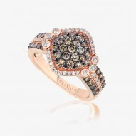 YPVR 325 14k Strawberry GoldFramed Clusters™ Ring with Chocolate Diamondsand Vanilla Diamonds