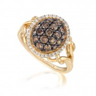 YPVR 78 14k Honey Gold™ Framed Clusters™ Ring with Chocolate Diamondsand Vanilla Diamonds