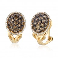YPVR 80 14k Honey Gold™ Framed Clusters™ Earring with Chocolate Diamondsand Vanilla Diamonds