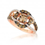 YPVS 178 14k Strawberry GoldGladiatorWeave™ Ring with Chocolate Diamondsand Vanilla Diamonds