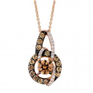 YPVS 179 14k Strawberry GoldGladiatorWeave™ Pendant with Chocolate Diamondsand Vanilla Diamonds