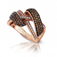YPVS 87 14k Strawberry GoldGladiatorRing with Chocolate Diamondsand Vanilla Diamonds