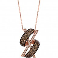 YPVS 88 14k Strawberry GoldGladiatorPendant with Chocolate Diamondsand Vanilla Diamonds