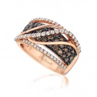 YPVS 91 14k Strawberry GoldGladitorRing with Chocolate Diamondsand Vanilla Diamonds