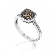 YPWL 112 14k Vanilla GoldFramed Clusters™ Ring with Chocolate Diamondsand Vanilla Diamonds