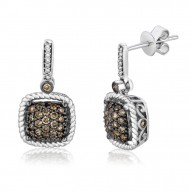YPWL 114 14k Vanilla GoldFramed Clusters™ Earrings with Chocolate Diamondsand Vanilla Diamonds