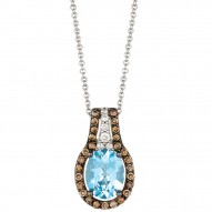 YPWL 149 14k Vanilla GoldSea Blue AquamarinePendant with Chocolate Diamondsand Vanilla Diamonds