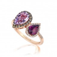 YPWL 172 14k Strawberry GoldRaspberry Rhodoliteand Cotton Candy AmethystRing with Chocolate Diamondsand Vanilla Diamonds