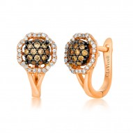 YPWL 84 14k Strawberry GoldFramed Clusters™ Earring with Chocolate Diamondsand Vanilla Diamonds