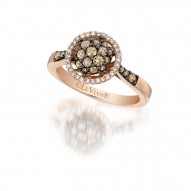 YPWL 91 14k Strawberry GoldFramed Clusters™ Ring with Chocolate Diamondsand Vanilla Diamonds