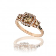YPXH 142 14k Strawberry GoldRing with Chocolate Diamondsand Vanilla Diamonds