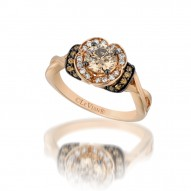 YPXH 160 14k Strawberry GoldRing with Chocolate Diamondsand Vanilla Diamonds