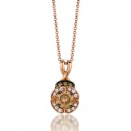 YPXH 161 14k Strawberry GoldPendant with Chocolate Diamondsand Vanilla Diamonds