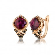 YPXH 217 14k Strawberry GoldRaspberry RhodoliteEarrings with Chocolate Diamondsand Vanilla Diamonds