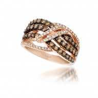YPXP 223 14k Strawberry GoldGladiatorWeave™ Ring with Chocolate Diamondsand Vanilla Diamonds