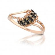 YQCM 115 14k Strawberry GoldSinuous Swirls™ Ring with Chocolate Diamondsand Vanilla Diamonds