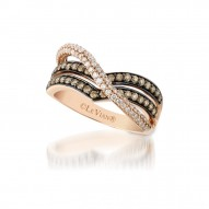 YQEN 11 14k Strawberry GoldGladiatorRing with Chocolate Diamondsand Vanilla Diamonds