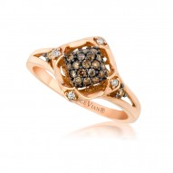 YQEN 19 14k Strawberry GoldFramed Clusters™ Ring with Chocolate Diamondsand Vanilla Diamonds