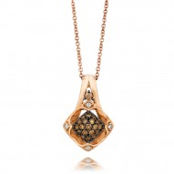 YQEN 21 14k Strawberry GoldFramed Clusters™ Pendant with Chocolate Diamondsand Vanilla Diamonds