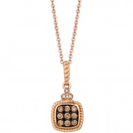YQEN 29 14k Strawberry GoldFramed Clusters™ Pendant with Chocolate Diamondsand Vanilla Diamonds
