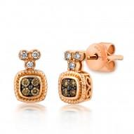 YQEN 30 14k Strawberry GoldFramed Clusters™ Earrings with Chocolate Diamondsand Vanilla Diamonds