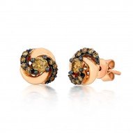 YQEN 45 14k Strawberry GoldSinuous Swirls™ Earrings with Chocolate Diamondsand Vanilla Diamonds