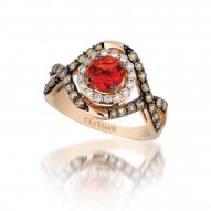 YQFQ 43 14k Strawberry Gold Neon Tangerine Fire Opal™ RIng with Chocolate Diamondsand Vanilla Diamonds