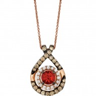 YQFQ 44 14k Strawberry Gold Neon Tangerine Fire Opal™ Pendant with Chocolate Diamondsand Vanilla Diamonds