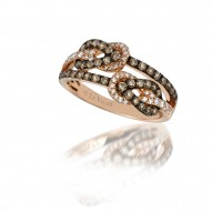 YQGK 68 14k Strawberry GoldGladiatorKnots™ Ring with Chocolate Diamondsand Vanilla Diamonds