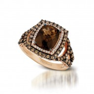 YQII 309 14k Strawberry GoldChocolate QuartzRing with Chocolate Diamondsand Vanilla Diamonds