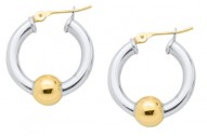 SS/YG Cape Cod Bead Hoop Earrings
