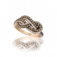ZUEO 61 14k Strawberry GoldGladiatorKnots™ Ring with Chocolate Diamondsand Vanilla Diamonds