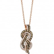 ZUEO 62 14k Strawberry GoldGladiatorKnots™ Pendant with Chocolate Diamondsand Vanilla Diamonds