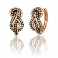 ZUEO 63 14k Strawberry GoldGladiatorKnots™ Earrings with Chocolate Diamondsand Vanilla Diamonds