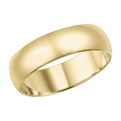 Goldman Comfort Fit Wedding Band 6mm, 14k Yellow Gold