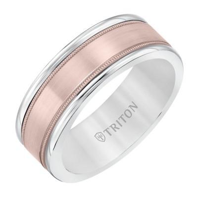 Triton  White Tungsten Carbide(Primary) Band With 14Krg Insert - Flat Milgrain - Sz 10