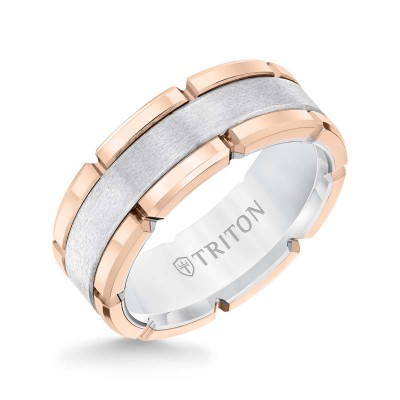 Tt Rose/Wh Tungsten Carbide 8MM Comfort Fit Flat Band - Sz 10