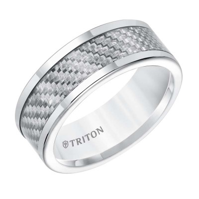 Tungsten Carbide 8MM Comfort Fit White With Silver Carbideon Fiber Center Band -Sz 10