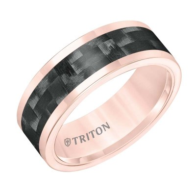 Tungsten Carbide 8MM Comfort Fit Rose Band - Sz 10