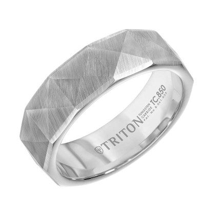 Triton 7MM Whit Tungsten Band/Engraved - Sz 10