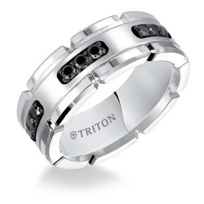 Triton White Tungsten Carbide/Ss 8MM Comfort Fit 1/3 Ct Dia Band-Sz 10