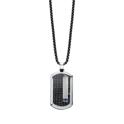 Stainless Steel Dogtag Necklace With  Solitaire Diamond=0.02 Ct